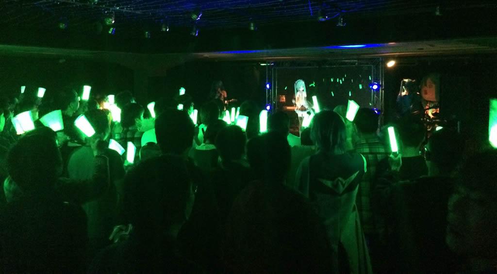 Live concert entertainment featuring the ApiMiku MMD model.